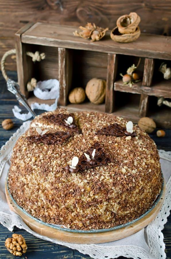 蜜糕用核桃和被磨碎的巧克力 免版税库存图片