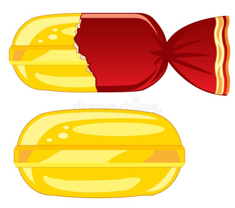 蜜钱焦糖在盖子和没有它 向量例证