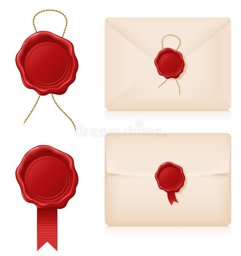 蜡封印和信封 库存例证
