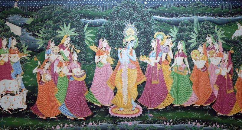 蜡染布传统印地安丝绸绘画 库存图片