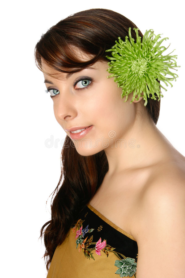 蜡染布大丁草绿色头发她的妇女换行 库存图片
