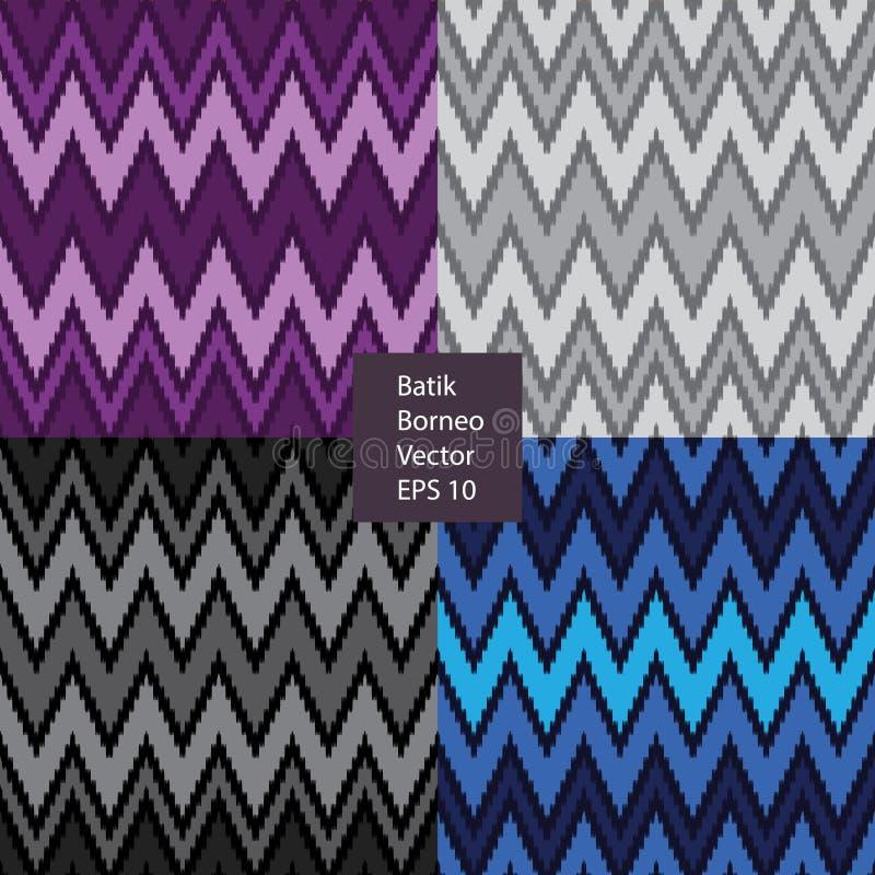 蜡染布婆罗洲印度尼西亚无缝的样式 库存例证
