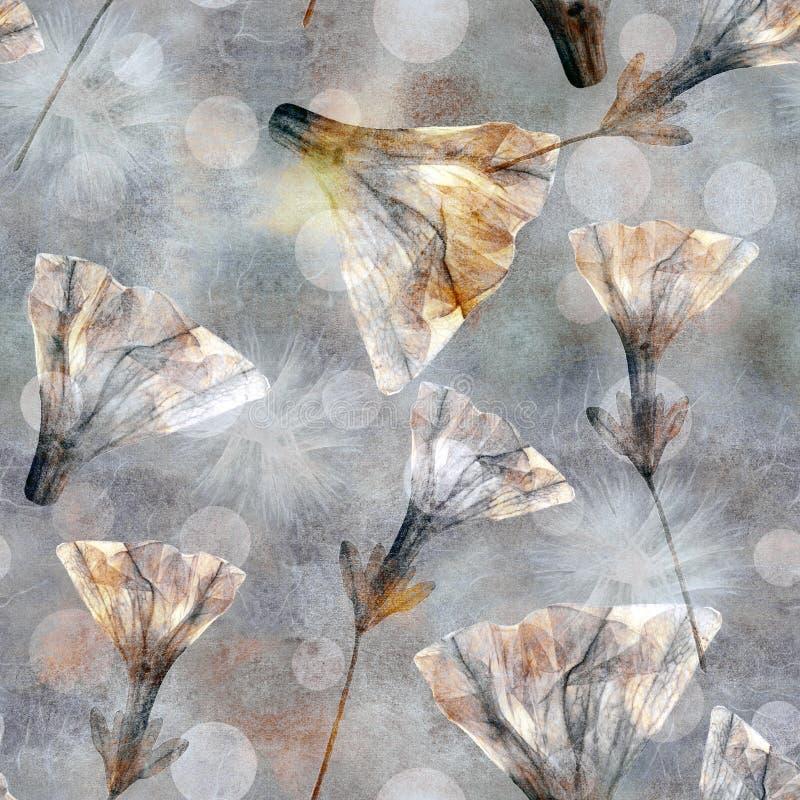 蜡染布样式 葡萄酒柔和的淡色彩仿效 剪贴薄的明亮的花卉无缝的五颜六色的样式 与干燥fllwers的拼贴画 Backgrou 皇族释放例证