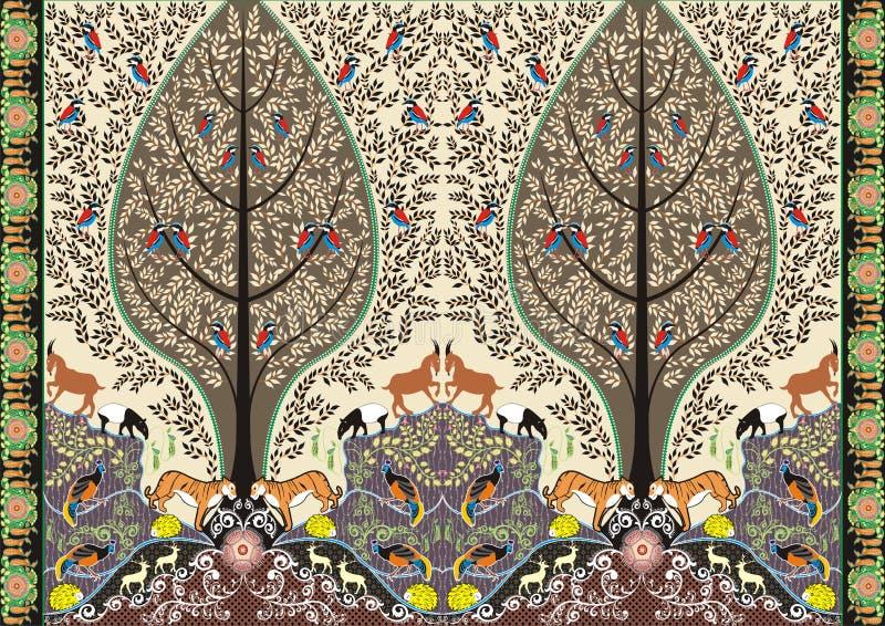 蜡染布森林生活主题 免版税库存照片