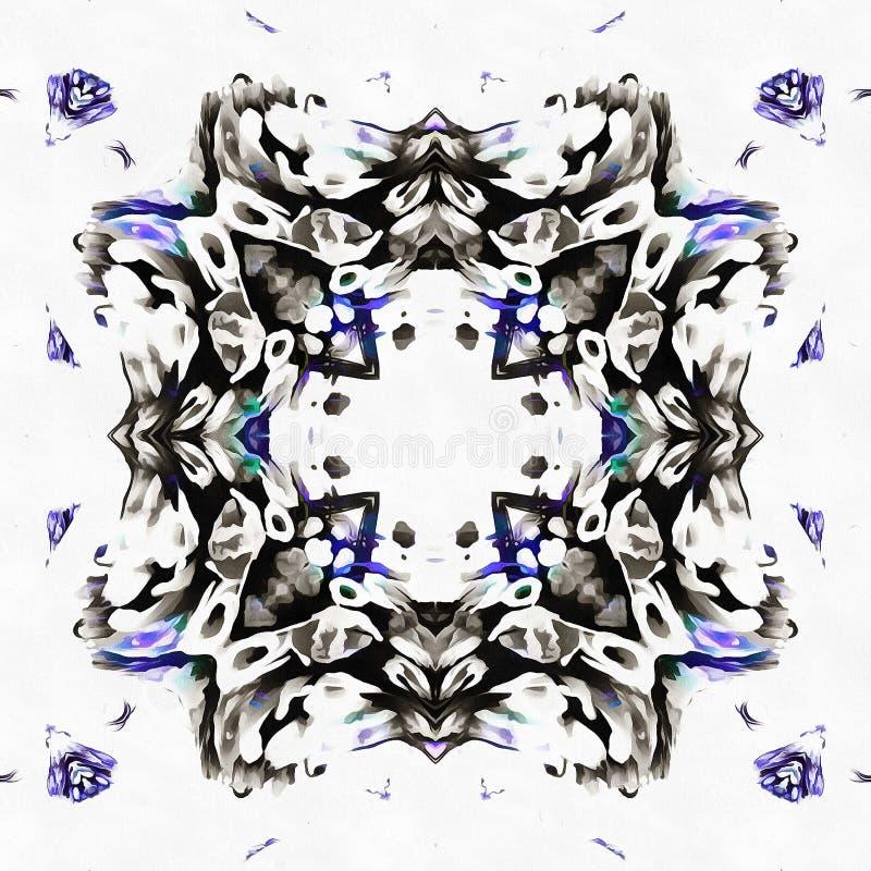 蜡染布被反映的万花筒场面 向量例证