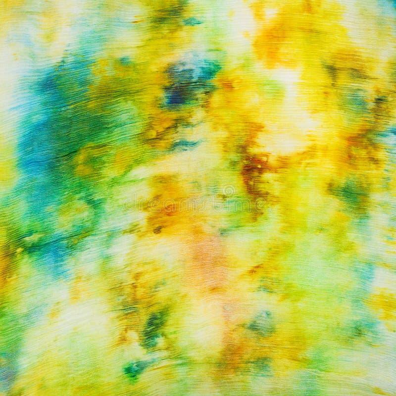 蜡染布-在丝绸的抽象黄色和绿色斑点 库存例证