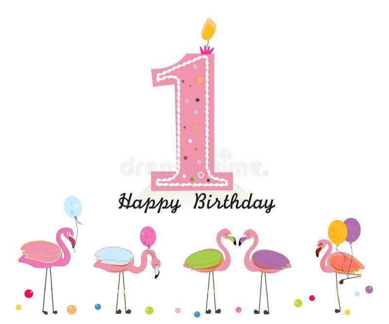 蜡烛一 愉快的第一封生日蜡烛信件 异乎寻常的鸟 套不同的姿势火鸟 五颜六色的火鸟 皇族释放例证