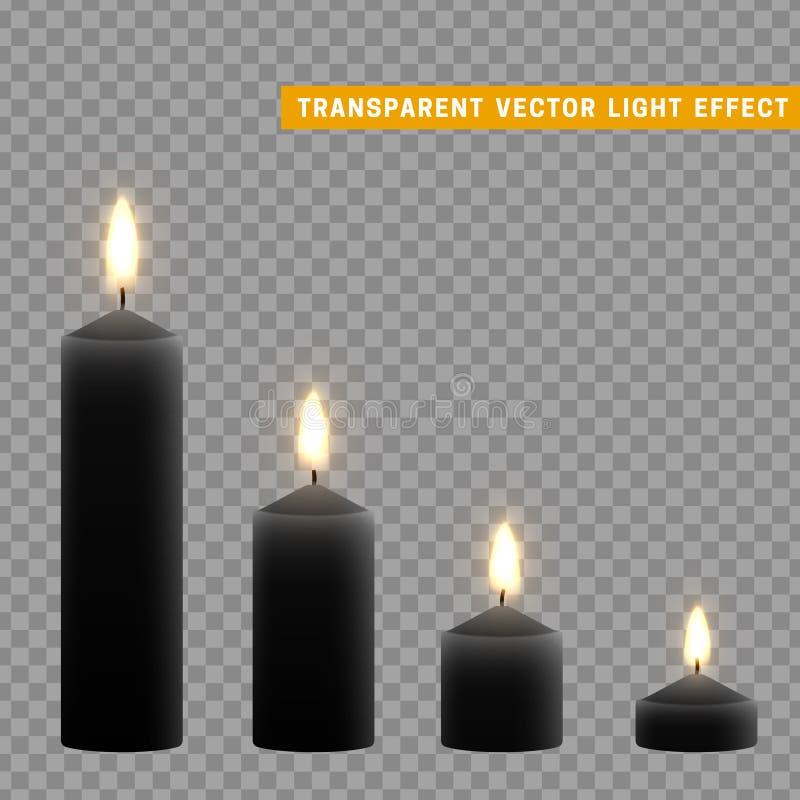 蜡烛与现实的火的烧伤 设置被隔绝在透明背景 设计装饰的,传染媒介例证元素 向量例证