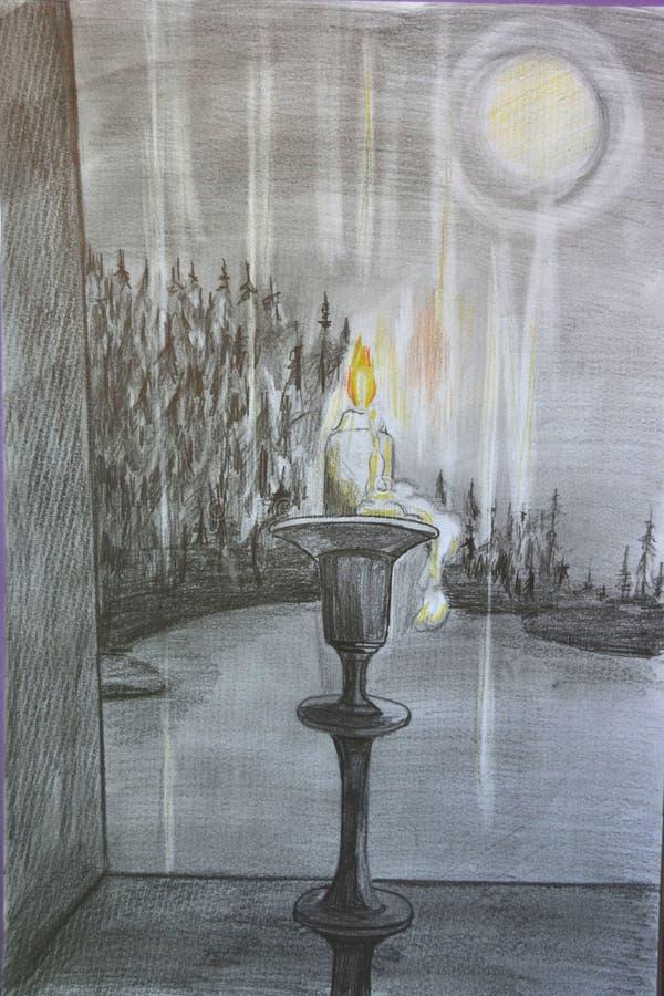 蜡烛和夜风景 免版税图库摄影
