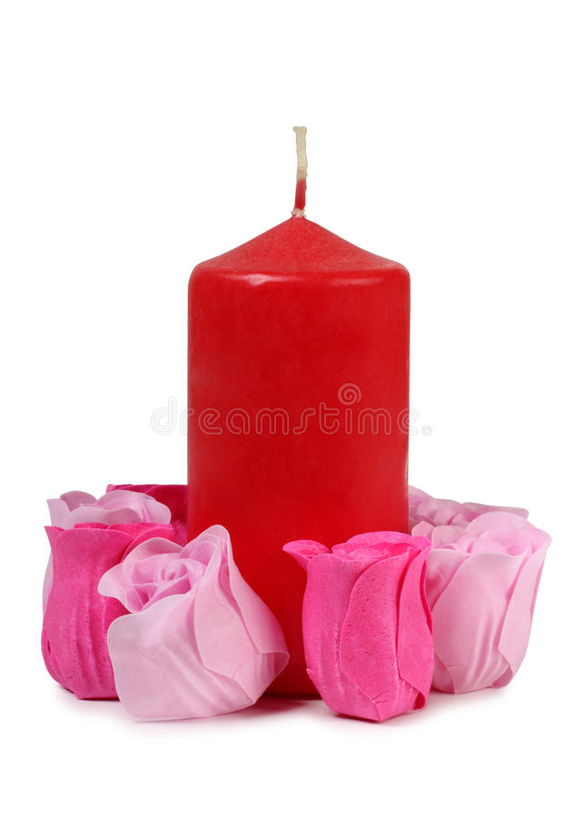 蜡烛和玫瑰 免版税库存图片