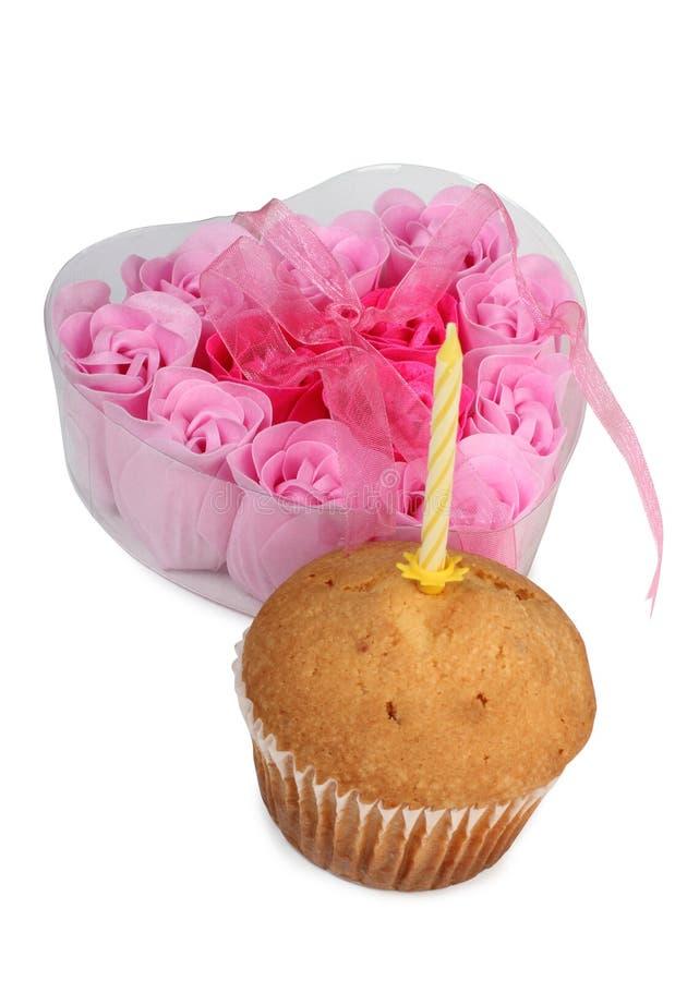 蜡烛和蛋糕一 免版税库存照片