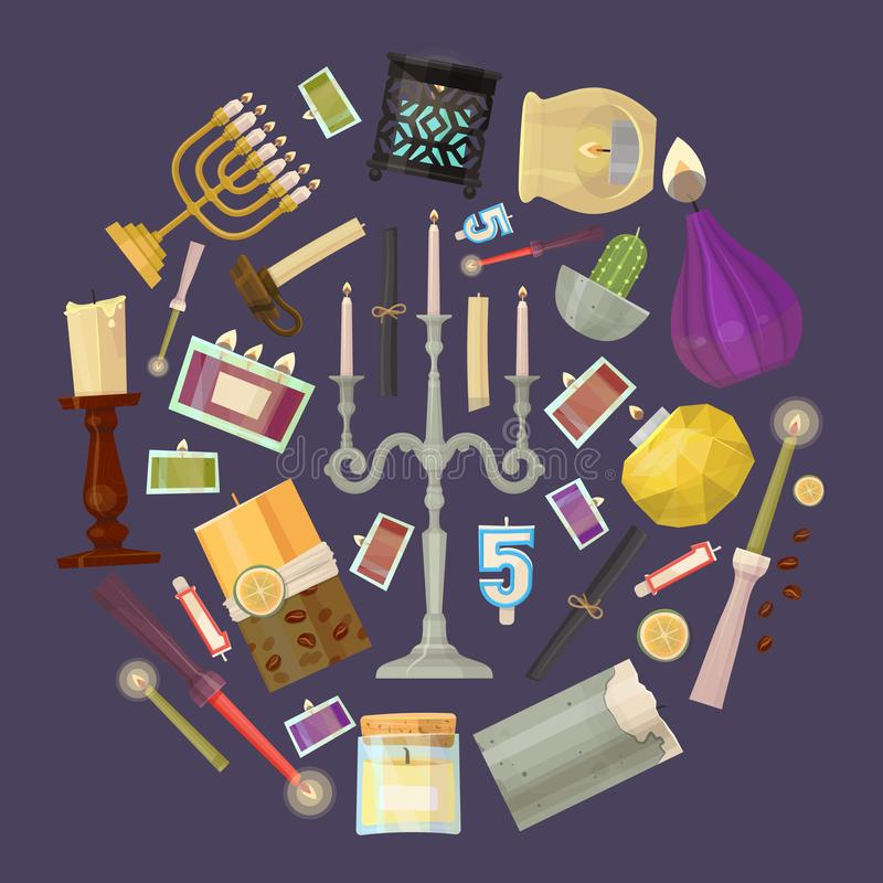 蜡烛圆的传染媒介例证 xmas党、浪漫热烛光火焰和被点燃的发火焰夜光的蜡蜡烛 向量例证