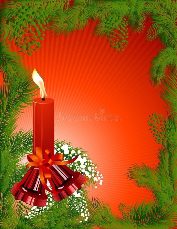 蜡烛圣诞节框架杉木thees 向量例证