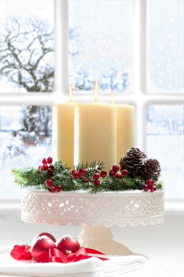 蜡烛圣诞节装饰 库存照片