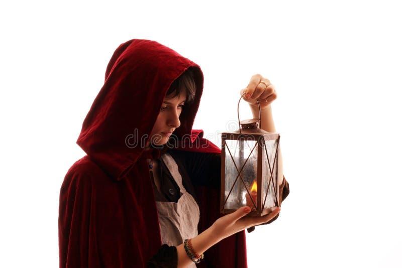 蜡烛女孩灯笼 库存图片