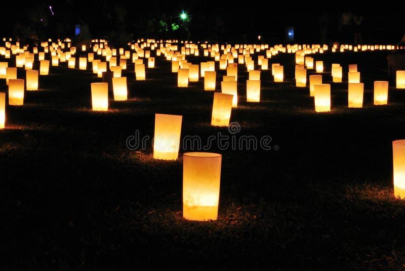 蜡烛杯子点燃了 免版税库存照片