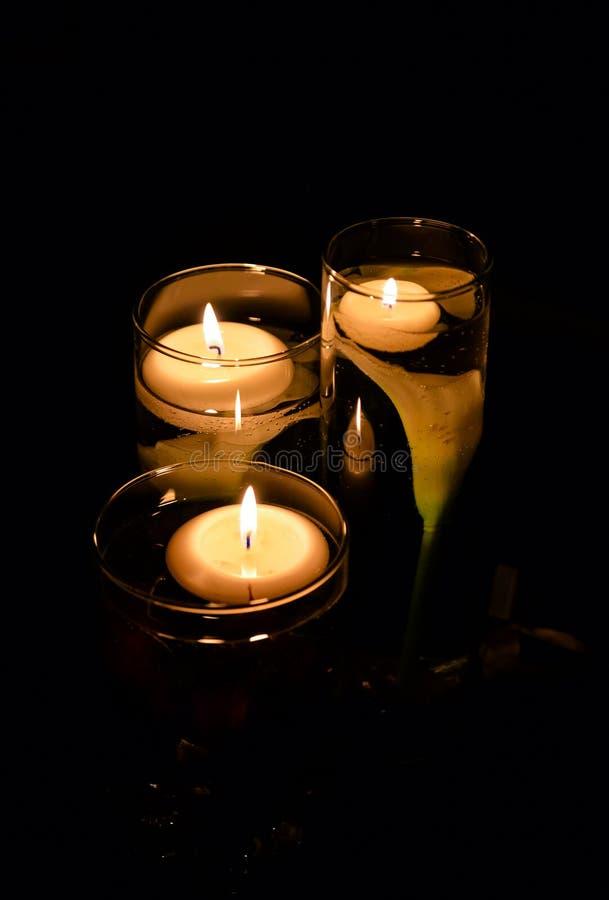 蜡烛浮动 库存照片