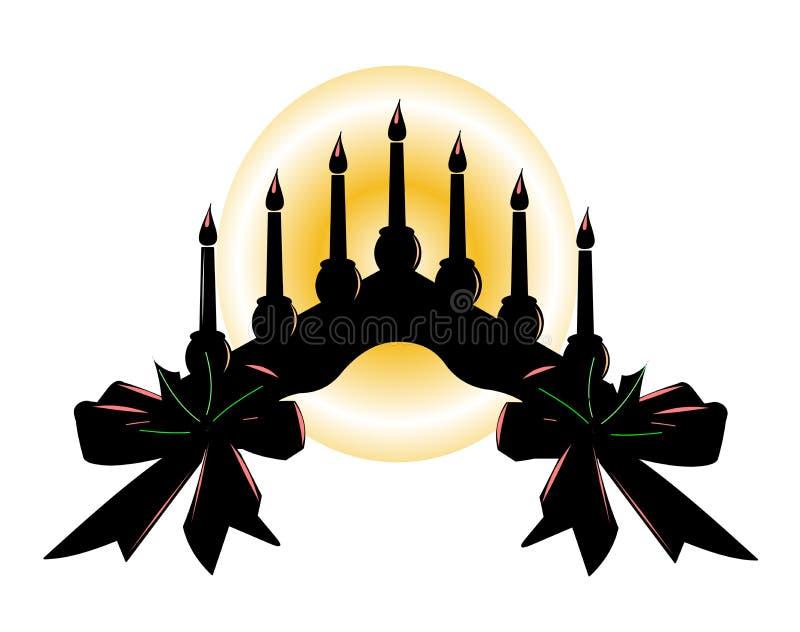 蜡烛温暖的发光的剪影  皇族释放例证