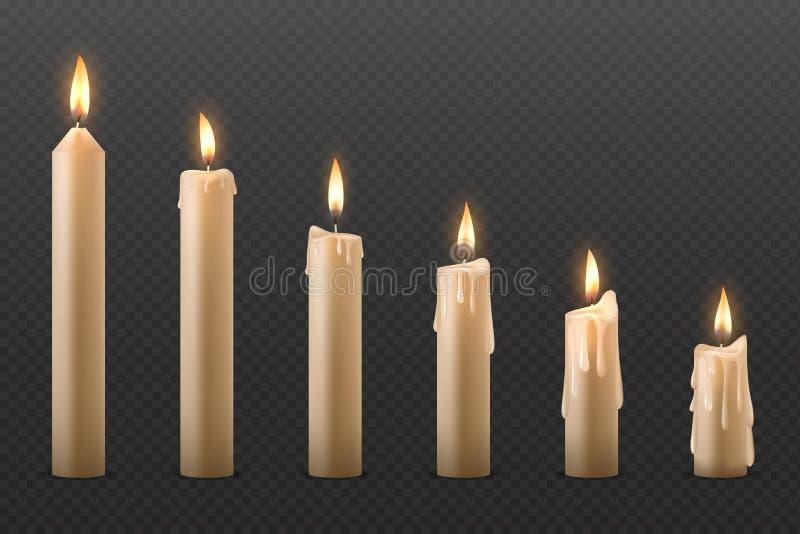 蜡烛火焰 燃烧逼真的3D蜡烛、不同的圣诞教堂和派对上的发光蜡烛 矢量 库存例证