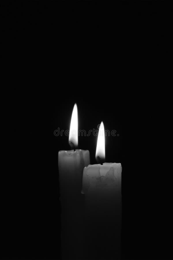 蜡烛燃烧在黑背景中 北京,中国黑白照片 免版税图库摄影