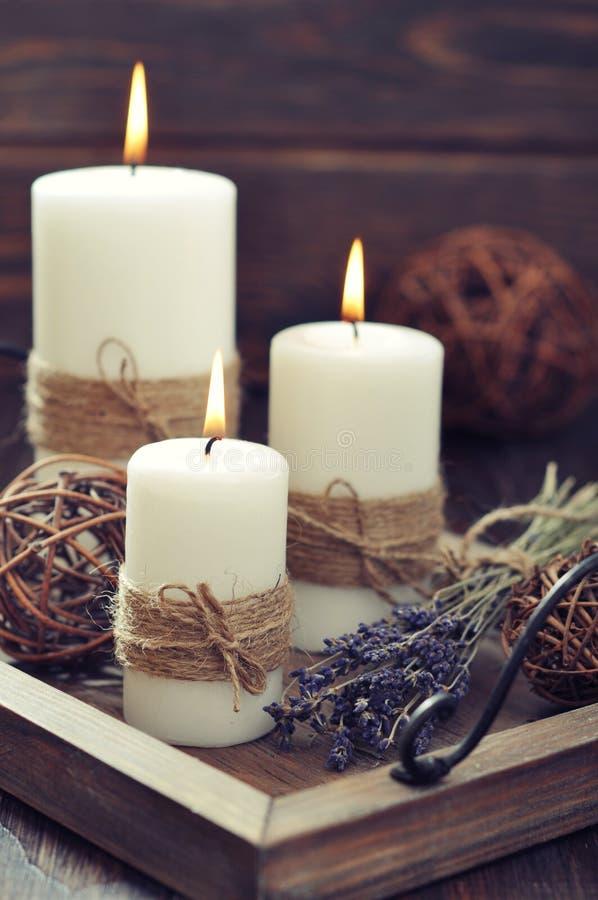 蜡烛用淡紫色 库存图片