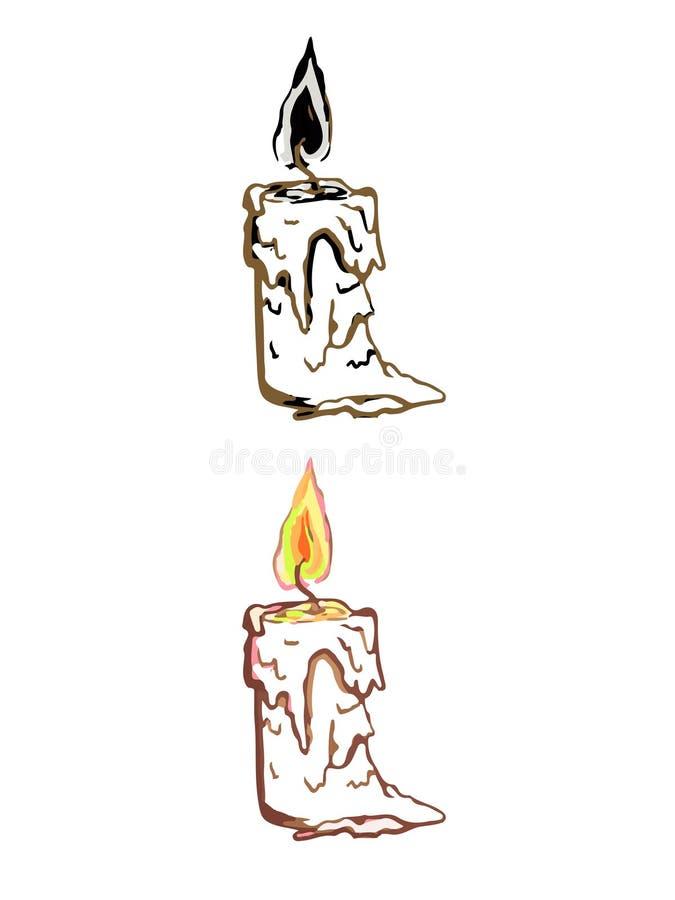 蜡烛的简单的线性例证 皇族释放例证