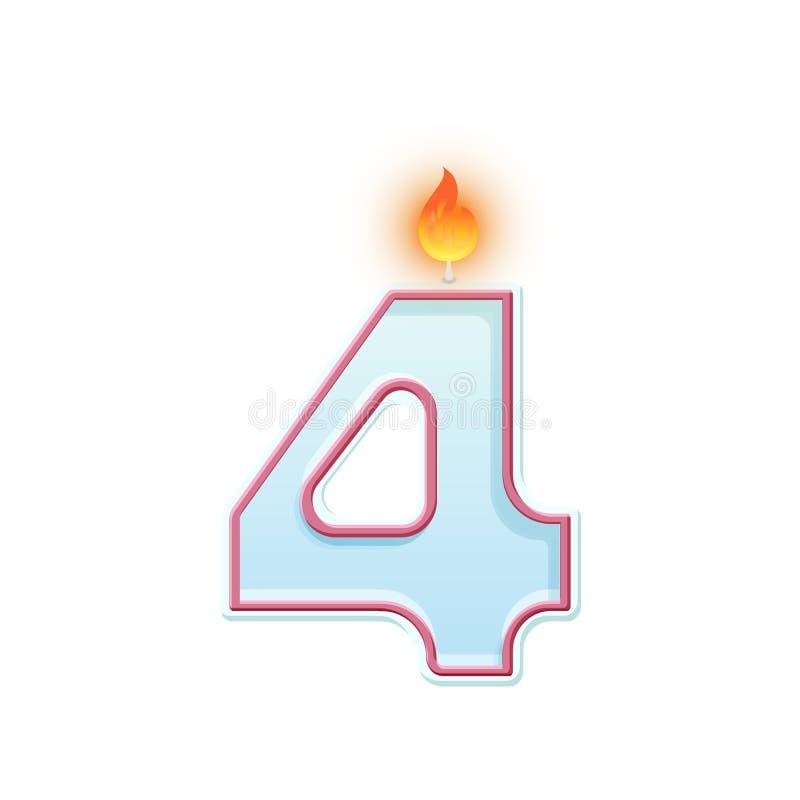 蜡烛第四 4?? E 生日蛋糕的动画片现实传染媒介蜡烛数字 皇族释放例证