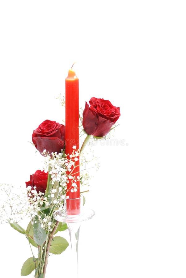 蜡烛红色玫瑰 库存照片