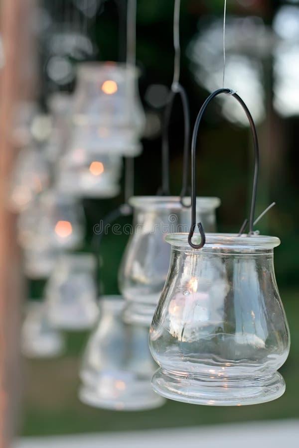 蜡烛装饰了接收婚礼 免版税库存图片