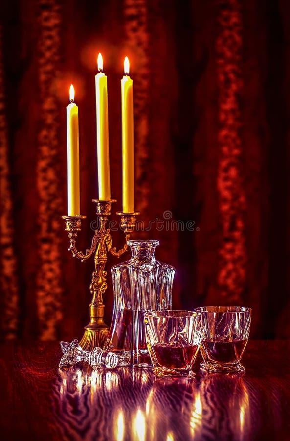 蜡烛酒 免版税库存照片