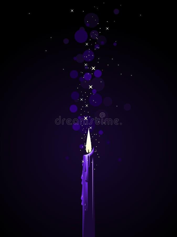蜡烛魔术紫色 皇族释放例证