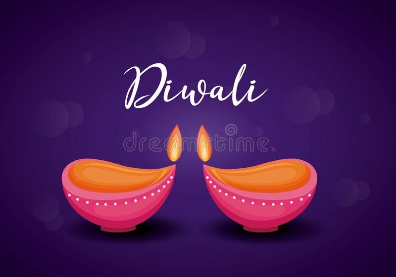 蜡烛diwali节日被隔绝的象 皇族释放例证