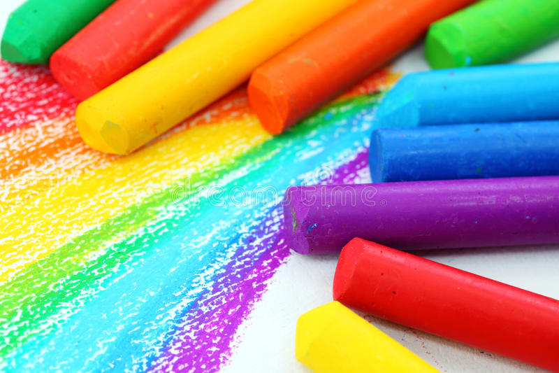 蜡笔上油柔和的淡色彩 库存照片