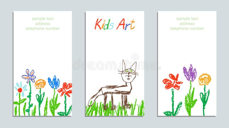 蜡笔喜欢儿童` s手图画艺术五颜六色的花、草、领域和猫 皇族释放例证
