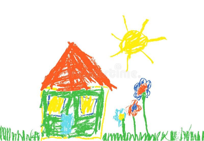 蜡笔喜欢儿童` s手拉的房子、草、五颜六色的花和太阳 向量例证