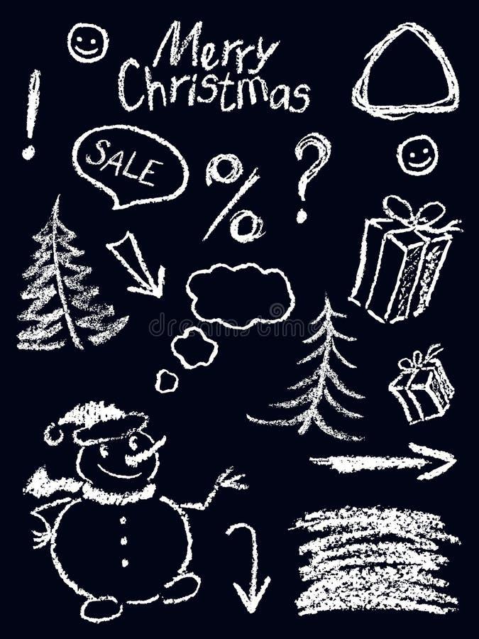 蜡笔圣诞节象画在黑色的childs的假日标志滑稽的乱画设计元素白色 库存例证
