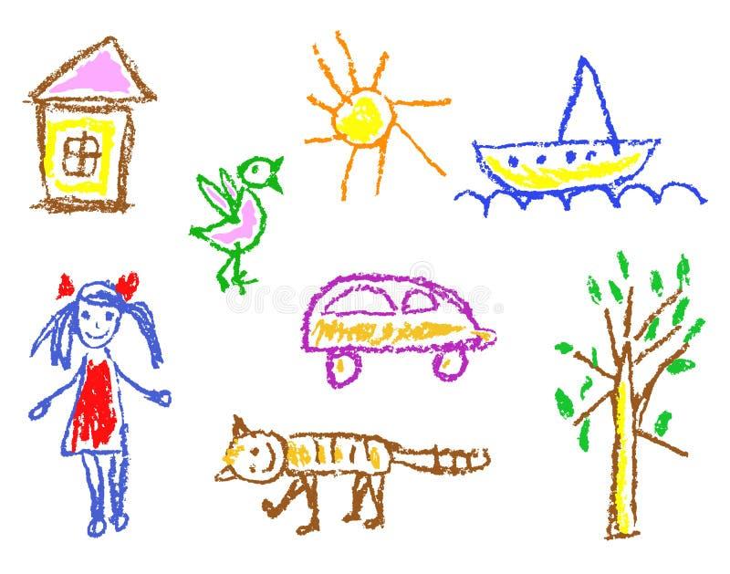 蜡笔孩子` s被画的女孩,房子,鸟,猫,太阳,汽车,树,在白色隔绝的船 向量例证