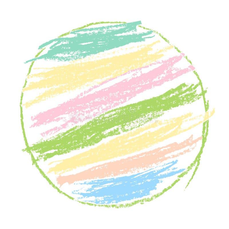 蜡笔或铅笔喜欢孩子` s被画的软的淡色彩虹圈子背景 库存例证