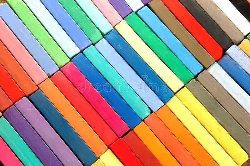 蜡笔以各种各样的颜色 免版税库存照片