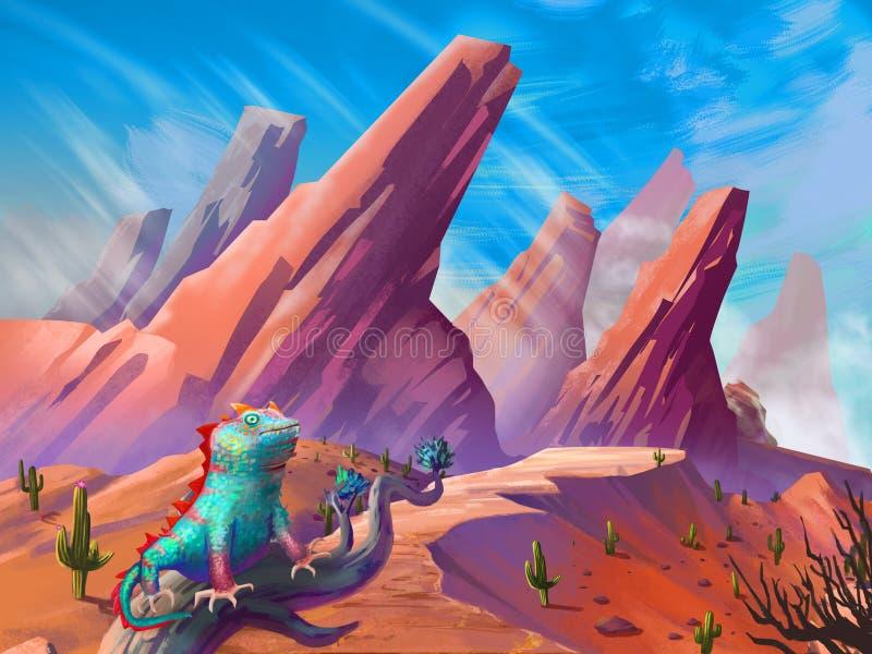 蜥蜴在有意想不到,现实和未来派样式的沙漠 皇族释放例证