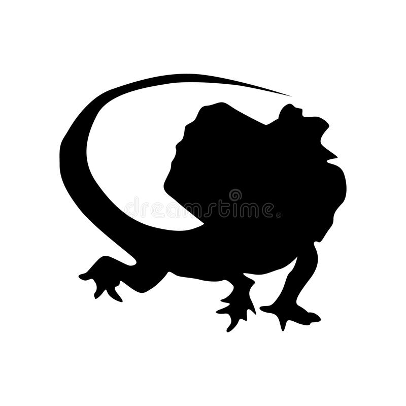 蜥蜴黑剪影 库存例证