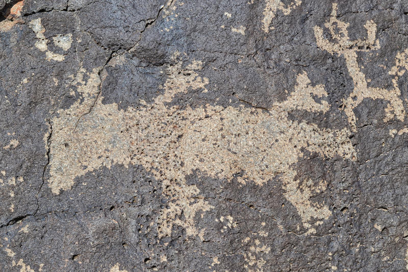 蜥蜴的刻在岩石上的文字 免版税库存图片