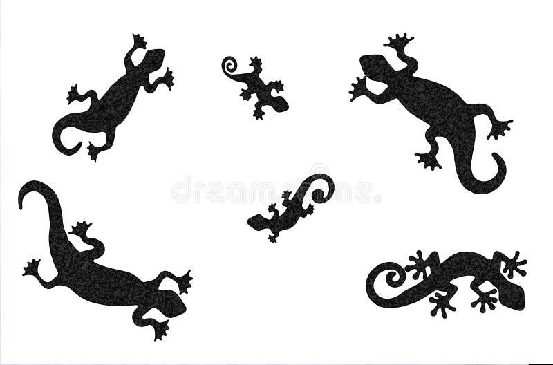 蜥蜴纹身花刺剪影(被察觉的版本) 免版税库存图片
