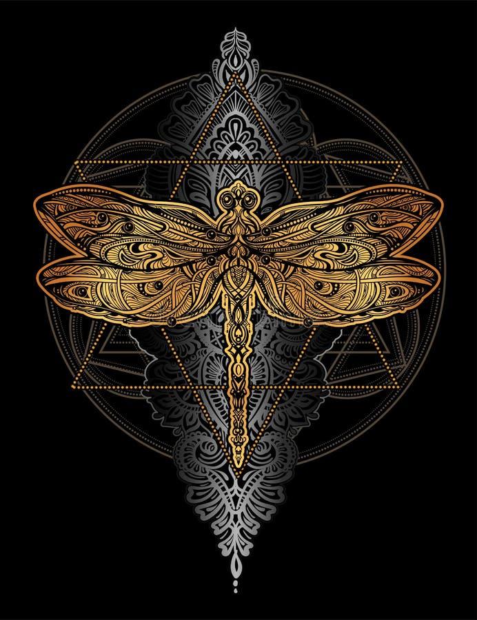 蜻蜓传染媒介纹身花刺 皇族释放例证