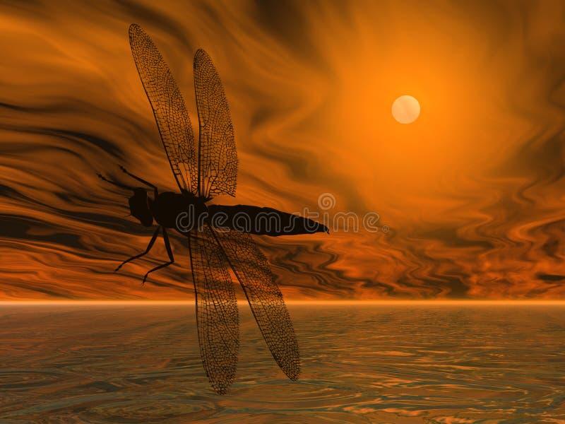 蜻蜓剪影 免版税库存图片