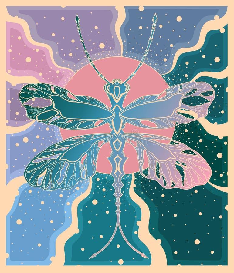 蜻蜓在阳光下与在青桃红色颜色的光芒 库存例证