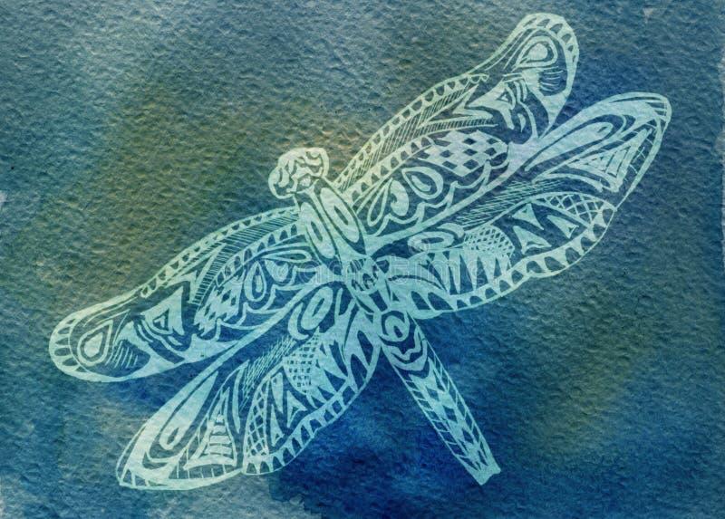 蜻蜓水彩 向量例证