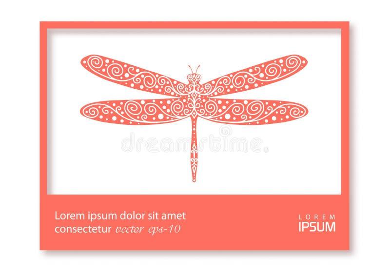蜻蜓矢量图 Business card or visiting card template with coral dragonfly Coral color frame 矢量插图 库存例证