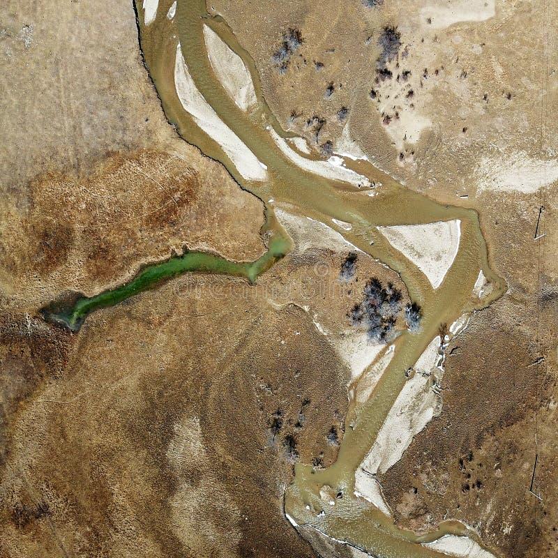 蜿蜒的河鸟景色香格里拉的 免版税图库摄影