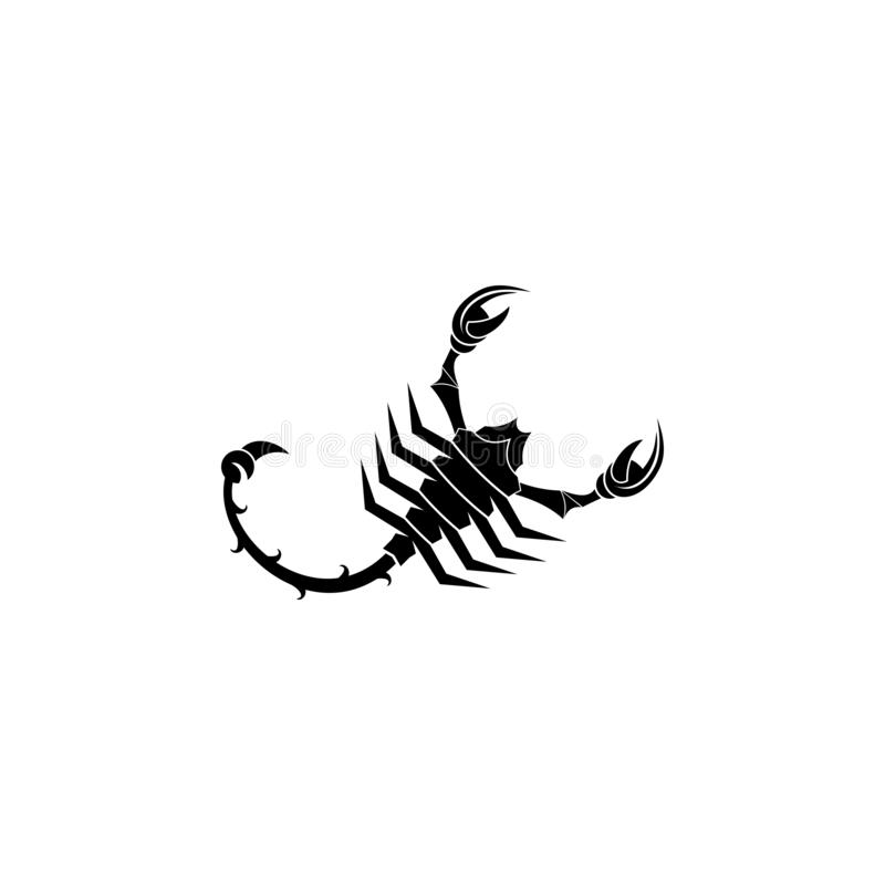 蝎子剪影商标 皇族释放例证